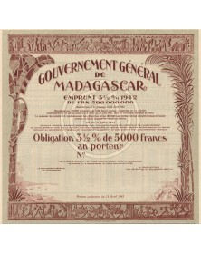 Gouvernement Général de Madagascar - 3.5% Loan 1942. Specimen