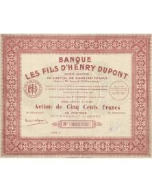 Banque Les Fils d'Henry Dupont