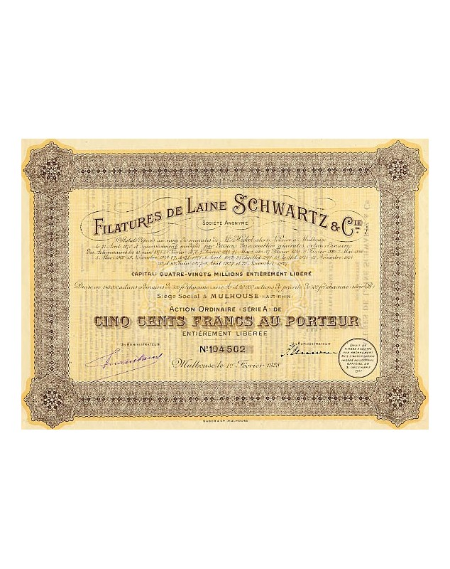 Filatures de Laine Schwartz & Cie. 1924