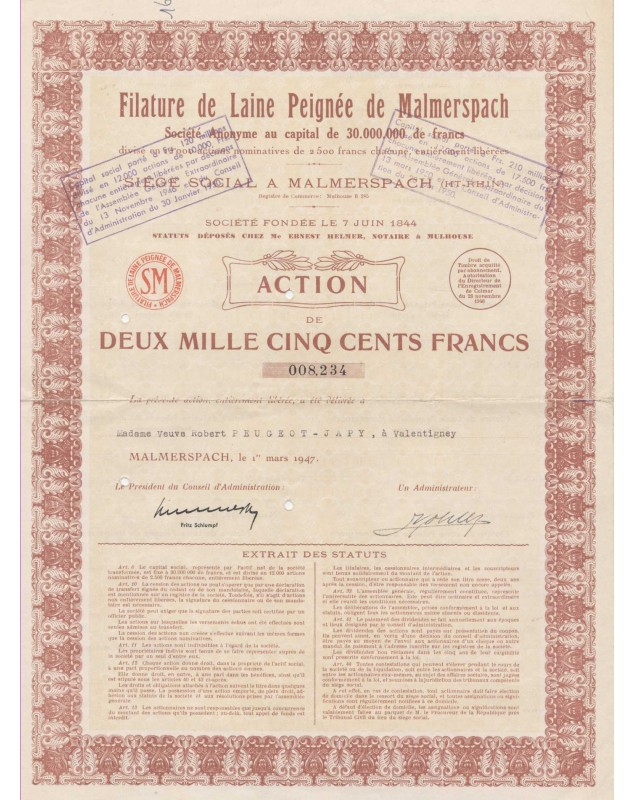 Filature de Laine Peignée de Malmerspach (delivered to the Peugeot family)