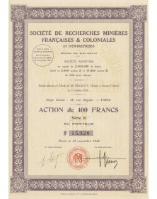 Sté de Recherches Minières Françaises & Coloniales (Mines de Sidi Mafa)