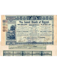 The Land Bank of Egypt. Banque Foncière d'Egypte (Capital 1000K€). 1905, tampons fiscaux français