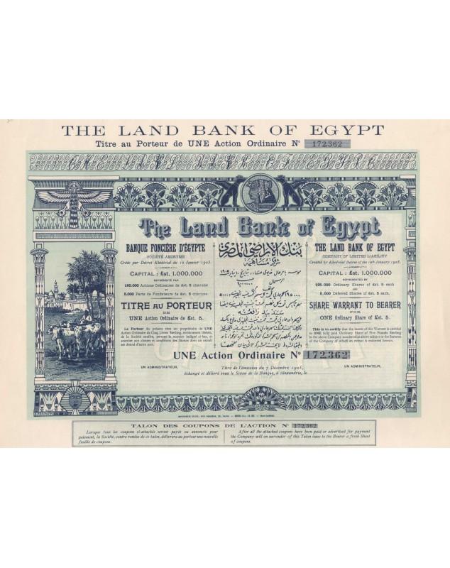 The Land Bank of Egypt. Banque Foncière d'Egypte (Capital 1000K€). Non émis