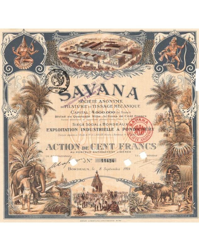 SAVANA - S.A. de Filature et Tissage Mécanique. Annulé