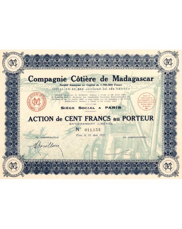 Cie Côtière de Madagascar. 1927
