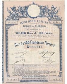 Crédit Foncier de France - Emprunt de 23 Millions 1887