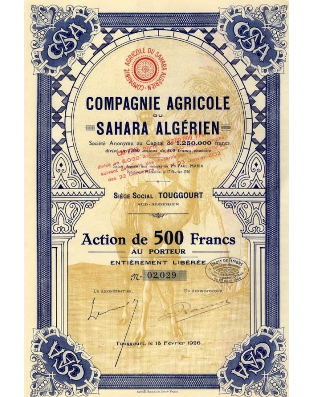 Cie Agricole du Sahara Algérien