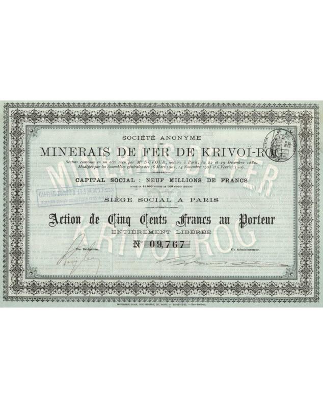 S.A. des Minerais de Fer de Krivoï-Rog. 1906