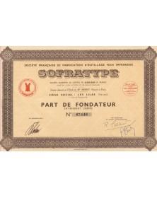 SOFRATYPE Sté Française de Fabrication d'Outillage pour Imprimerie