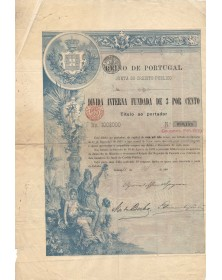 Reino de Portugal - Junta do Credito Publico - Divida Interna Fundada de 3%