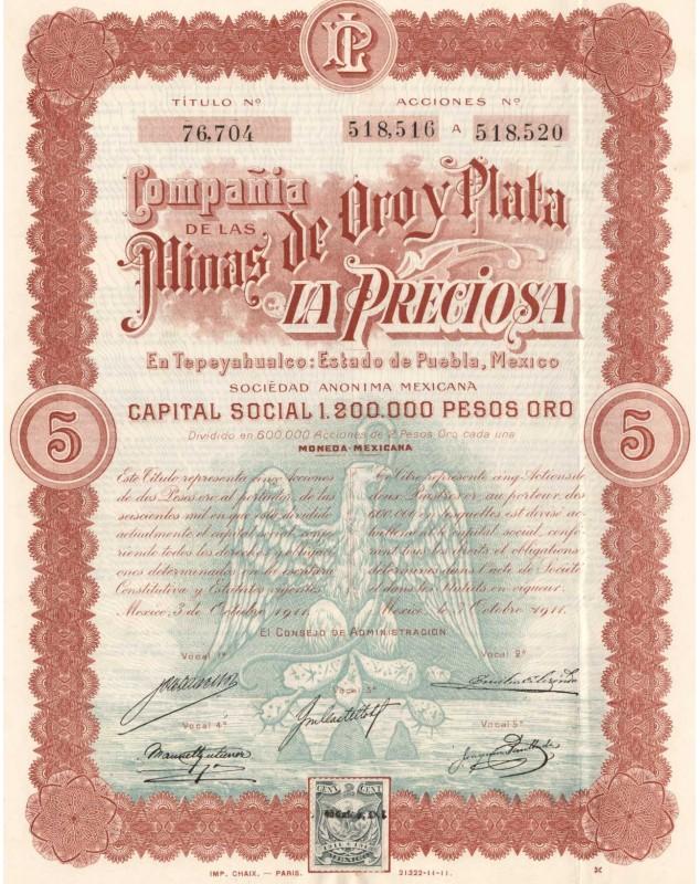 Mines de Oroy Plata ''La Preciosa''. 1911