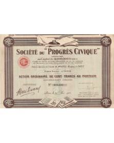 """Sté du """"Progrès Civique"""". 1925"""