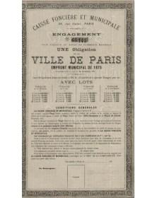 Ville de Paris - Emprunt Municipal de 1875. Caisse Foncière et Municipale