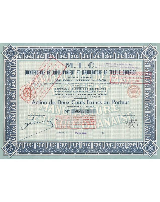 M.T.O. Manufacture de Tapis d'Orient & Manufacture de Textile Oranaise