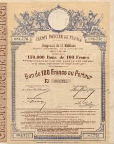 Crédit Foncier de France - Emprunt de 15 Millions 1888