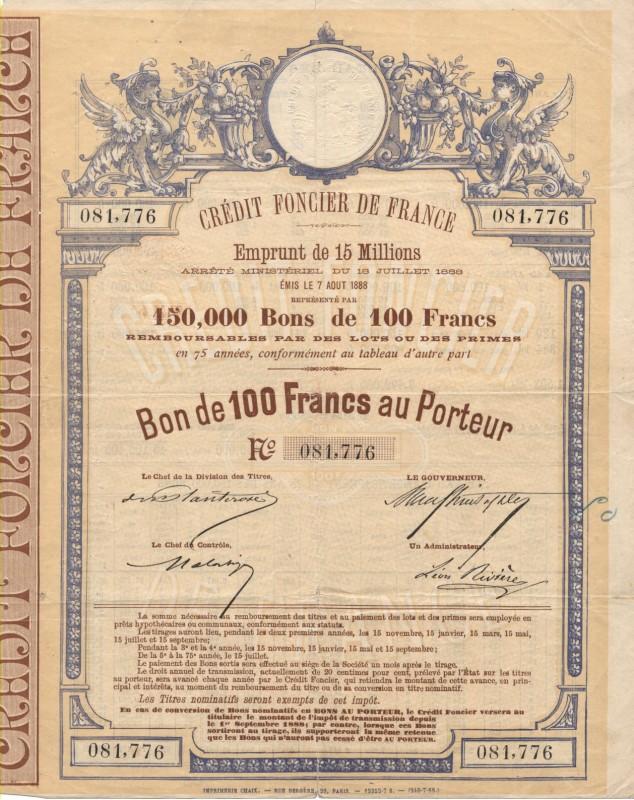 Crédit Foncier de France -  15 Million Loan 1888