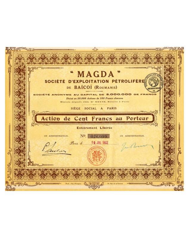 Magda - Sté d'Exploitation Pétrolifères de Baïcoï (lot of 3 shares)