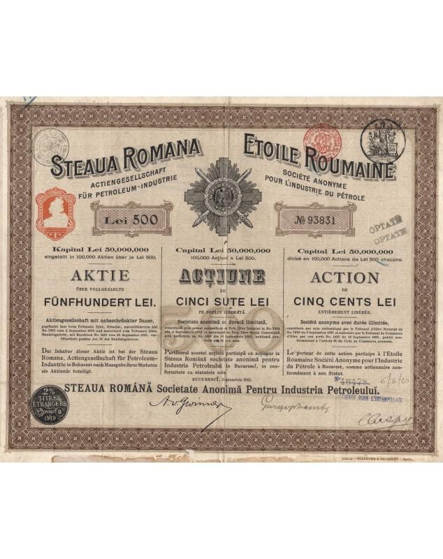 Etoile Roumaine, S.A. pour l'Industrie du Pétrole. 1912