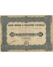 Union Minière & Financière Coloniale. 1927