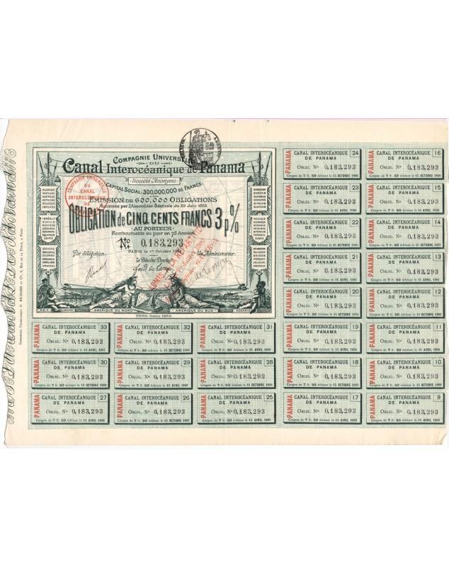 Cie Universelle du Canal Interocéanique de Panama. 1884 signed by V. de Lesseps
