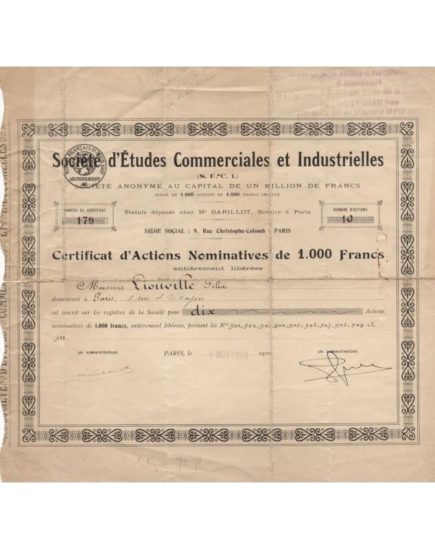 Sté d'Etudes Commerciales et Industrielles (SECI)