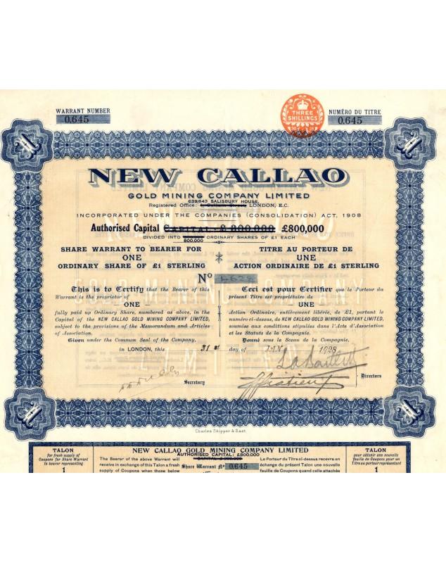 New Callao Gold Mining Company, Ltd. (1£) 1928