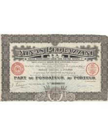 Minas Pedrazzini S.A. - Mines d'or et d'argent. 1921