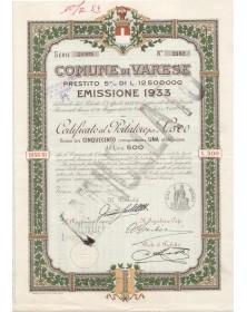 Comune di Varese - Prestito 5% 1933