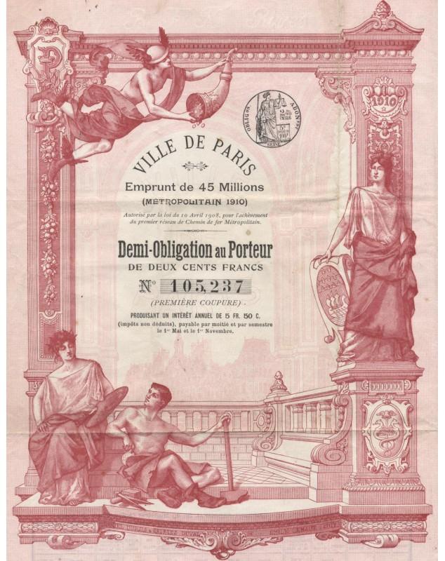 City of Paris - 45 millions Metropolitan Loan 1910