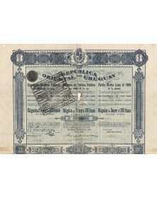 Republica Oriental del Uruguay - Emprunt de Travaux PUblics 5% Or 1909