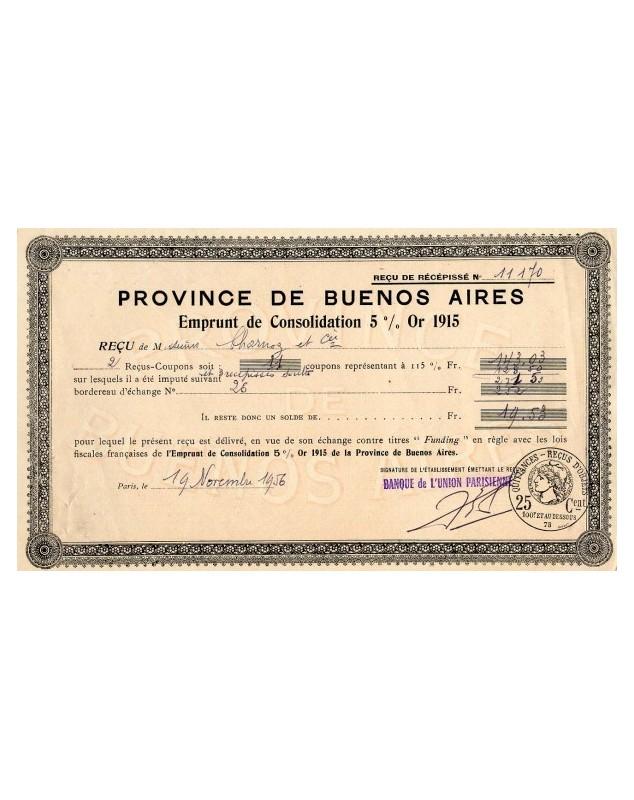 Province de Buenos Aires-Emprunt de Consolidations 5% 1915