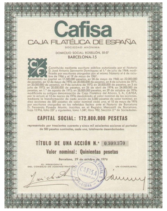 Cafisa, Caja Filatélica de España