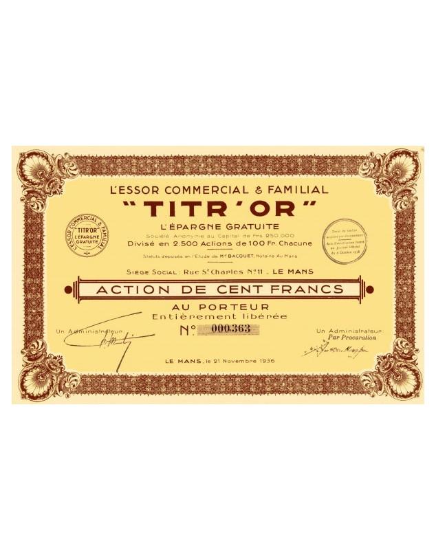 L'Essor Commercial & Familial ''TITR'OR'' L'Epargne Gratuite