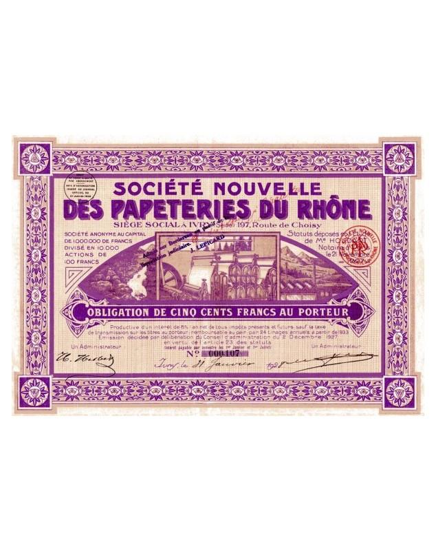 Sté Nouvelle des Papeteries du Rhône