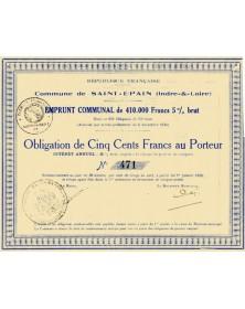 Emprunt Communal de la Ville de Saint-Epain Centre/Indre-et-Loire 37