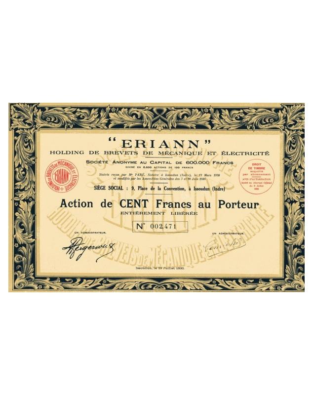 'ERIANN'' Holding de Brevets de Mécanique et Electricité