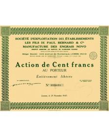 Sté d'Exploitation des Ets les Fils de Paul Bernard & Cie - Manufacture des Engrais NOVO