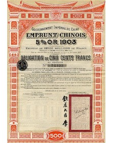 Gouvernement Impérial de Chine - Emprunt Chinois 5% Or  1903