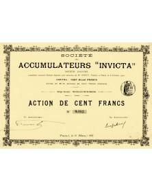 Sté des Accumulateurs ''INVICTA''