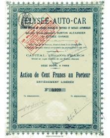 Elysée-Auto-Car, Sté de Garages Modèles de Voitures et Bateaux Automobiles - Anciens Et Burton Alexander et Elysée-Garage