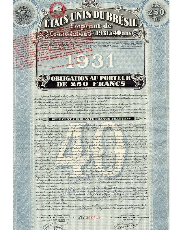United States of Brazil - 5% Consolidation Loan 1931 40 Years