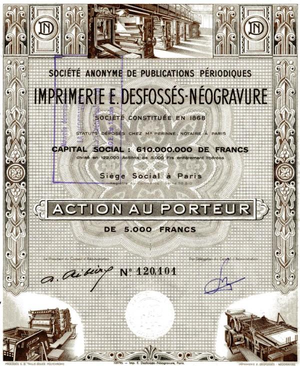 La Neogravure CHAIX - CRETE - DESFOSSES action de 50 Francs