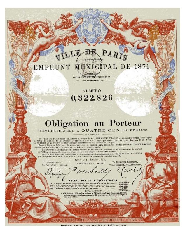 City of Paris - Municipal Loan of 1871