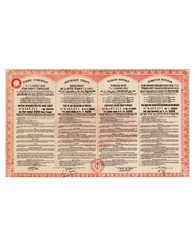 Turkish Republic - Turkish Debt 7.5 % 1933