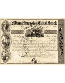 Miami Extension Canal Stock - State of Ohio 1843
