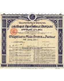 Gouvernement Général de l'Afrique Equatoriale Française - Emprunt 4% 1931