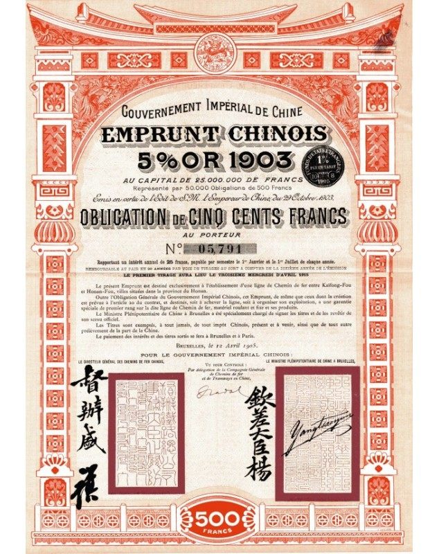 Imperial Chinese Government - Chinese 5% Gold Loan 1903