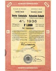 Dette Coloniale 4% 1936 Congo Belge