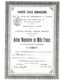 Sté Civile Immobilière de la Rue de Grenelle à Paris
