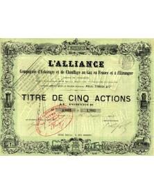 L'Alliance - Cie d'Eclairage et de Chauffage au Gaz  en France et à l'Etranger , sous la raison Paul Trassy & Cie